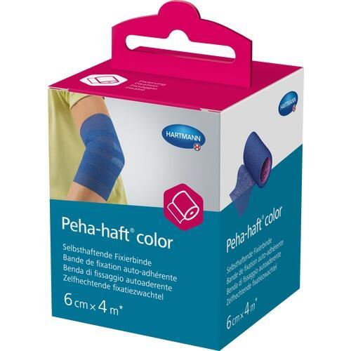 Peha-haft Color Fixierbinde latexfrei 6cmx4m blau, 1 ST, Paul Hartmann AG