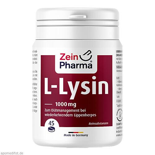 L-Lysin 1000mg Zitrone 45er Kautablette, 45 ST, Zein Pharma - Germany GmbH