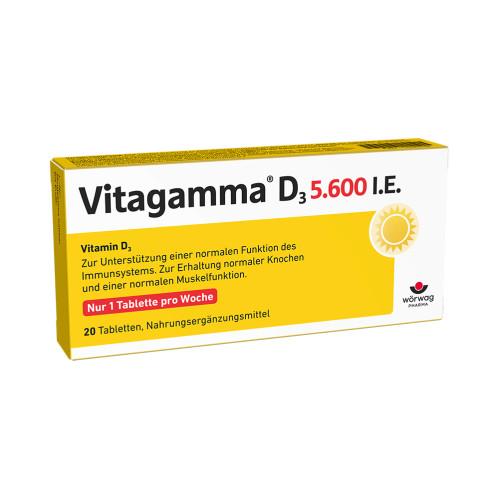 Vitagamma D3 5.600 I.E.Vitamin D3 NEM, 20 ST, Wörwag Pharma GmbH & Co. KG