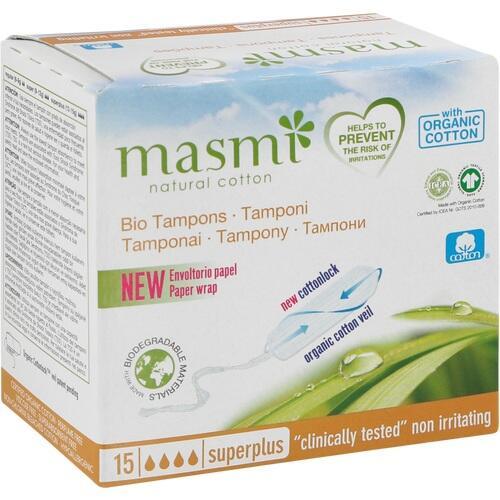 Bio Tampons Super Plus 100% Bio Baumwolle MASMI, 15 ST, Don Dandrea Deutschland AG