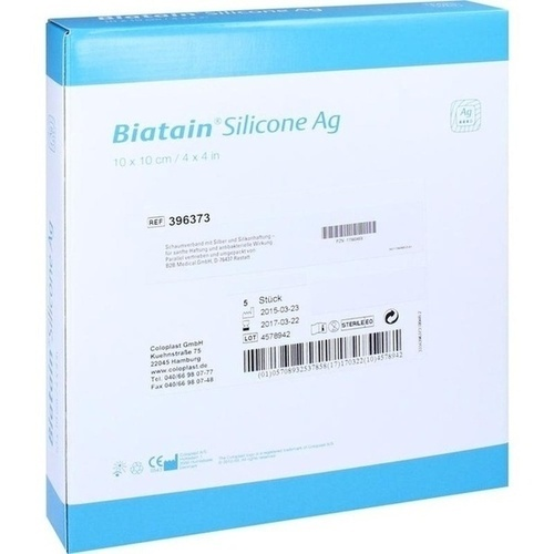 BIATAIN Silicone Ag Schaumverband 10x10 cm, 5 ST, B2b Medical GmbH
