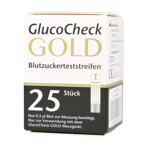 GlucoCheck GOLD Blutzuckerteststreifen, 25 ST, Aktivmed GmbH