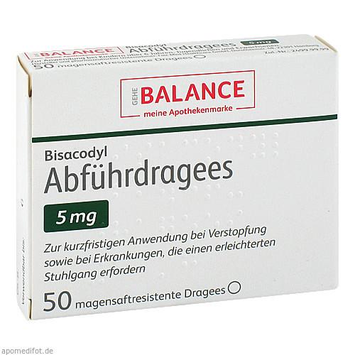 Bisacodyl Abführdragees 5 mg BALANCE, 50 ST, Gehe Pharma Handel GmbH
