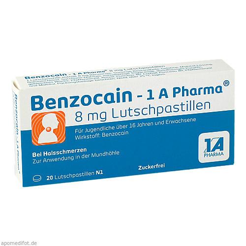 Benzocain - 1 A Pharma 8 mg Lutschpastillen, 20 ST, 1 A Pharma GmbH