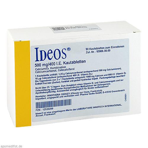 IDEOS 500 mg/400 I.E. Kautabletten, 90 ST, Pharma Gerke Arzneimittelvertriebs GmbH