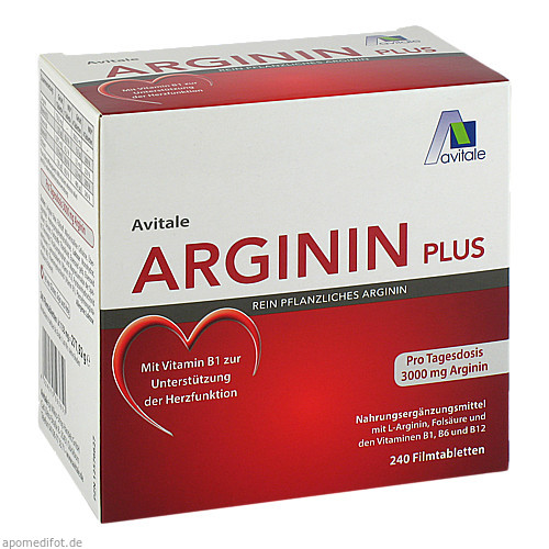 Arginin plus Vitamin B1+B6+B12+Folsäure, 240 ST, Avitale GmbH