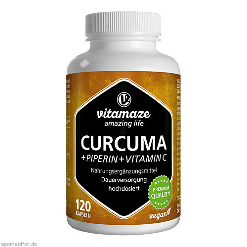 Curcuma + Piperin + Vitamin C Vitamaze, 120 ST, Vitamaze GmbH