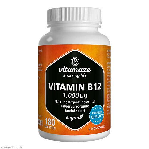 Vitamin B12 1000 ug hochdosiert vegan, 180 ST, Vitamaze GmbH