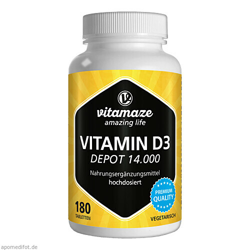 Vitamin D3 14.000IE Depot hochdosiert, 180 ST, Vitamaze GmbH