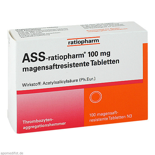 ASS-ratiopharm 100 mg magensaftresistente Tablette, 100 ST, ratiopharm GmbH