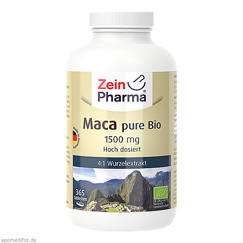 Maca pure Bio 1500 mg - 365 Tabletten ZeinPharma, 365 ST, Zein Pharma - Germany GmbH