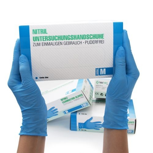Nitrilhandschuhe unsteril puderfrei Blau M, 100 ST, SF Medical Products GmbH
