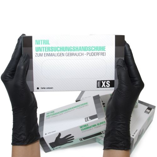 Nitrilhandschuhe unsteril puderfrei Schwarz XS, 100 ST, SF Medical Products GmbH