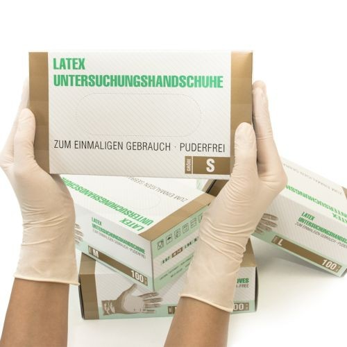 Latexhandschuhe unsteril puderfrei Weiß S, 100 ST, SF Medical Products GmbH