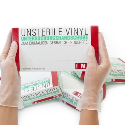 Vinylhandschuhe unsteril puderfrei Transparent M, 100 ST, SF Medical Products GmbH
