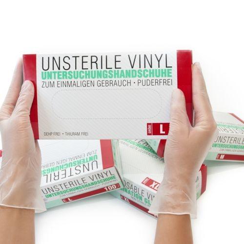 Vinylhandschuhe unsteril puderfrei Transparent L, 100 ST, SF Medical Products GmbH