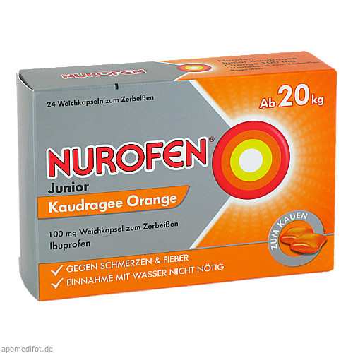 Nurofen Junior Kaudragee Orange 100mg, 24 ST, Reckitt Benckiser Deutschland GmbH