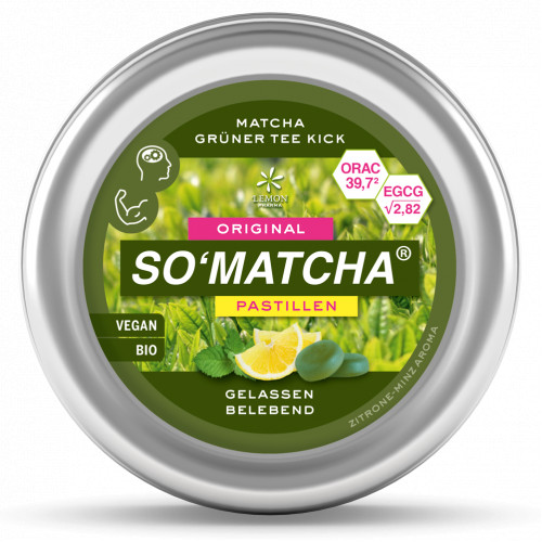 Matcha SO'MATCHA Pastillen Grüntee Minze, 40 G, Lemon Pharma GmbH & Co. KG