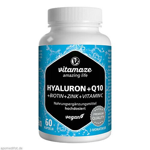 Hyaluronsäure 200 mg hochd. + Coenzym Q10 vegan, 60 ST, Vitamaze GmbH
