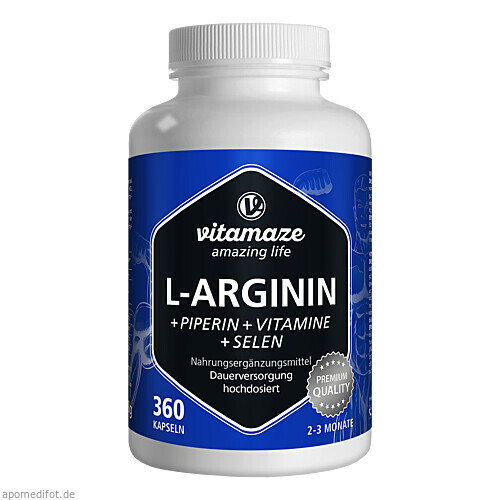 L-Arginin 750 mg + Piperin + Vitamine, 360 ST, Vitamaze GmbH
