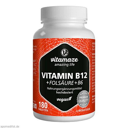Vitamin B12 1000 ug hochdosiert + B9 + B6 vegan, 180 ST, Vitamaze GmbH
