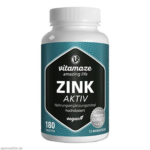 Zink Aktiv 25mg hochdosiert vegan, 180 ST, Vitamaze GmbH