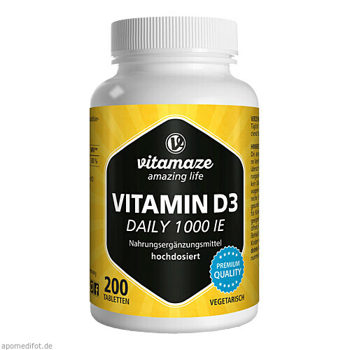Vitamin D3 1000 I.E. Daily vegetarisch, 200 ST, Vitamaze GmbH