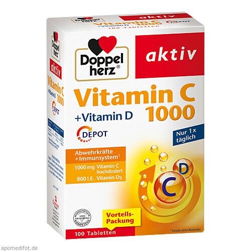 Doppelherz Vitamin C 1000 + Vitamin D Depot, 100 ST, Queisser Pharma GmbH & Co. KG