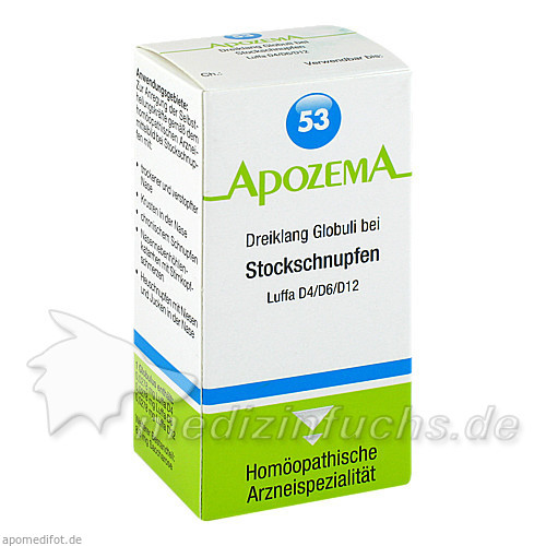 APOZEMA® Nr. 53 Dreiklang Globuli bei Stockschnupfen, 15 g, Apomedica Pharmazeutische Produkte GmbH