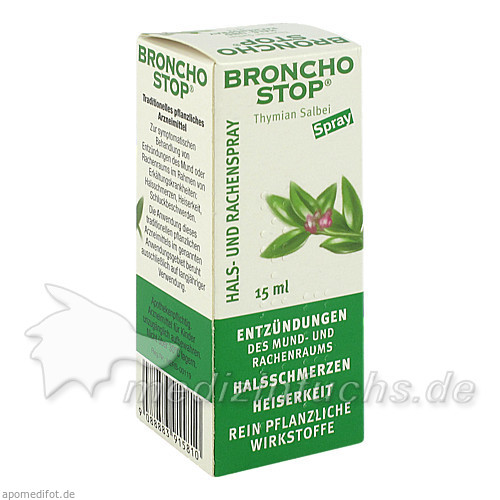 BRONCHOSTOP® Thymian Salbei Hals- und Rachenspray, 15 ml, Kwizda Pharma GmbH